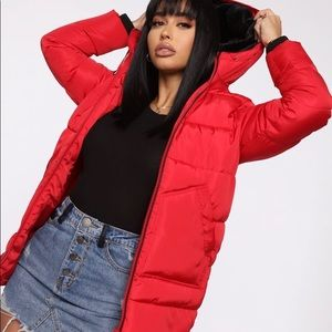 Red Puffer Coat with hood